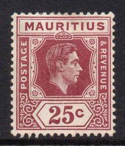 Mauritius 1938 KGVI 25c chalk paper SG 259 mint CV £22