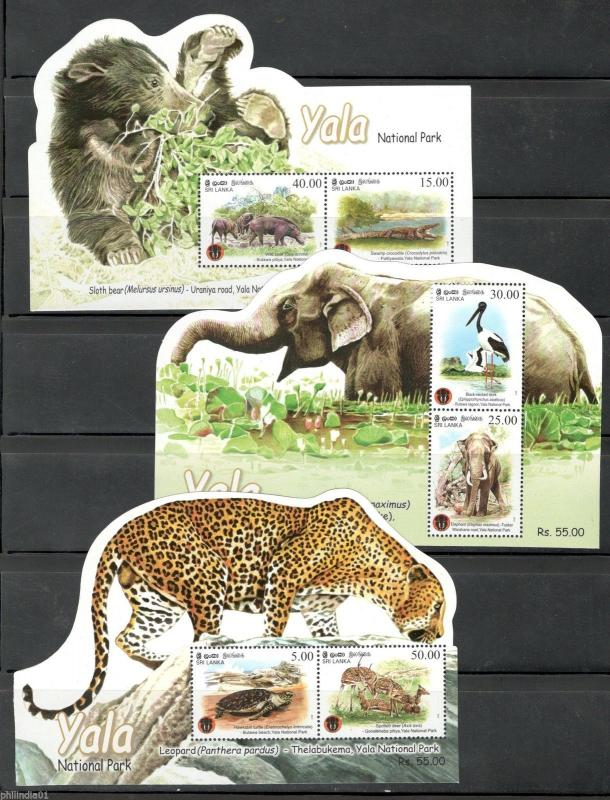 Sri Lanka 2013 Yala National Park Leopard Elephant Bear Odd Shaped M/s MNH #6134