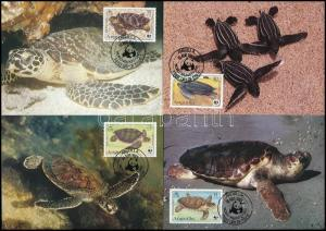 Anguilla stamp WWF: Turtles set on 4 CM Cover 1983 Mi 541-544 WS244130