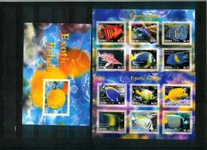 Eritrea - EXOTIC FISHES - 2 Sh + S/S imperf. MNH
