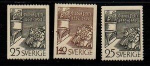 Sweden Sc 432-34 1952 Petri, Preacher, stamp set mint NH
