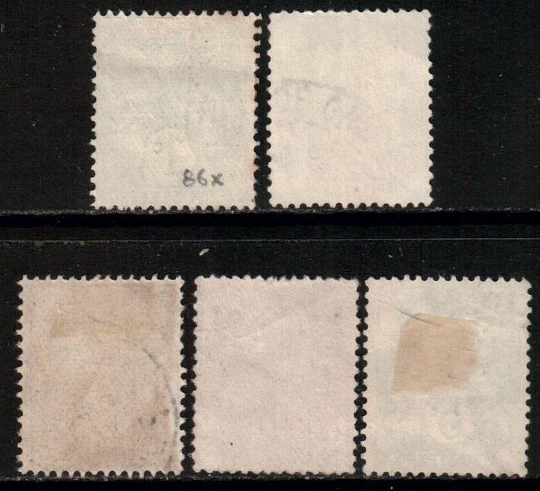 France, 1900 Liberty Set, 1c-5c, Scott 109/113, used