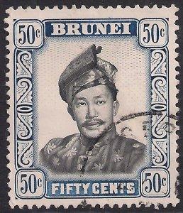 Brunei 1964 - 72 QE2 50ct Sultan Omar used SG 128b ( F637 )