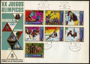C58 Equatorial Guinea Oversized FDC 1972 Summer Olympics Augsburgo Set of 7