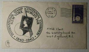 Intl Stamp Centennial Exhibition NY World Fair 1940 Philatelic CoverChilfton NJ