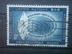 UN, 1956, used 8c, Human Rights Day. Scott 48
