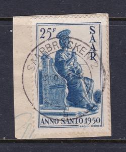 Saar a 1950 Holy Year 25F used on piece