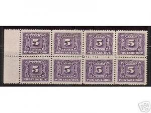 Canada #J4 XF Mint Block Of Eight