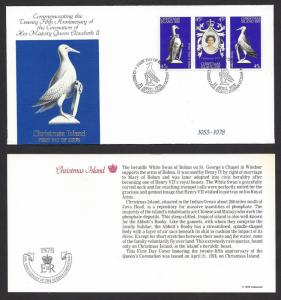 CHRISTMAS ISLAND 1978 QE2 Coronation Anniv. Set Sc 87a-87c on U/A Cachet FDC