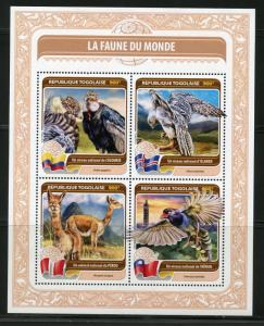 TOGO 2016  FAUNA OF THE WORLD OFFICIAL  BIRD OR ANIMALS FROM ICELAND, PERU  SHT