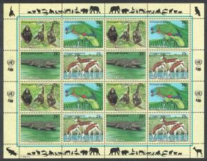 UN New York Birds Chimpanzee Amazon Crocodile Gazelles Sheetlet of 4 sets