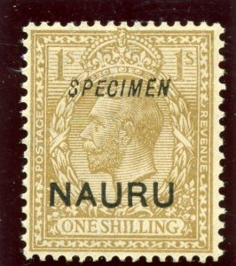 Nauru 1916 KGV KGV 1s bistre-brown overprinted SPECIMEN MLH. SG 12s.
