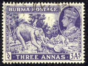 Burma Sc# 58 Used (a) 1946 3a King George VI