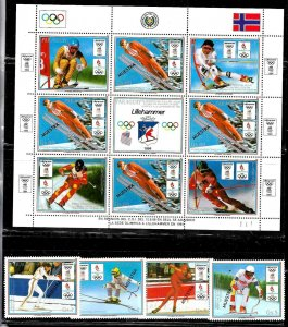 PARAGUAY 1989 SPORT OLYMPIC LILLEHAMMER SKIING SPECIMEN MUESTRA SET+MS Mi 4323-7