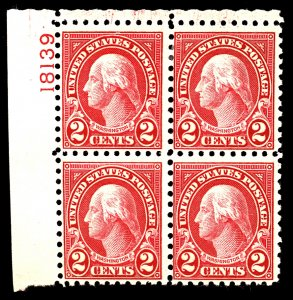 U.S. #583 MINT PL# Block OG HR