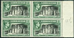 GIBRALTAR-1938-51 1/- Black & Green Perf 13½ unmounted mint block of 4 Sg 127a