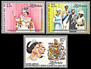 Liberia MNH 788-90 Silver Jubilee QE II 1977
