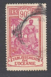FRENCH POLYNESIA c1930s 90c NZ Marine PO cancel - Mute squared circle.......F611