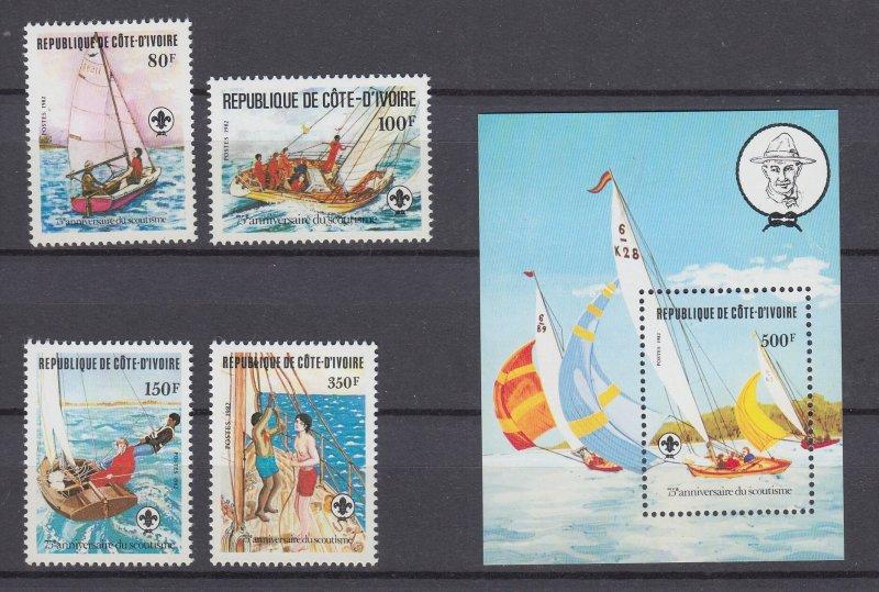 J29534, 1982 ivory coast set + s/s mnh #631-5 sailboats