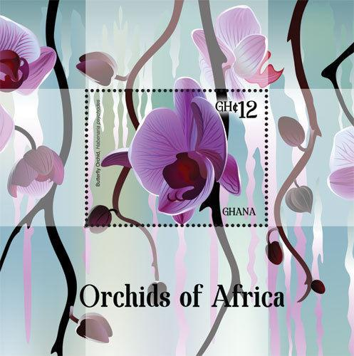 Ghana - Orchids of Africa, Butterfly Orchids, 2014 - S/S MNH