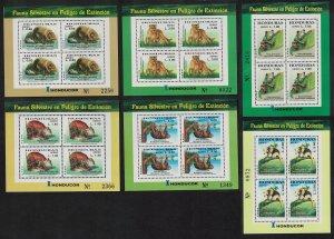 Honduras Lion Frog Endangered Animals 6 Sheetlets 2004 MNH SG#1749-1754