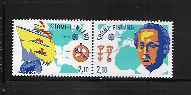 FINLAND, 885A, MNH, DISCOVERY OF AMERICA, PAIR OF TWO