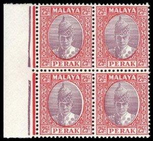 Malaya-Perak 1939 25c dull purple & scarlet block of four superb MNH. SG 115.