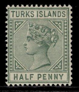 TURKS & CAICOS ISLANDS QV SG53a, ½d pale green, M MINT.