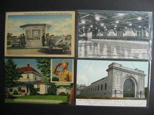 USA 4 Military postcards, Police, Eisenhower, swimming, armory, check them out!