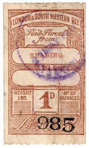 (I.B) London & South Western Railway : Paid Parcel 1d (Reading)