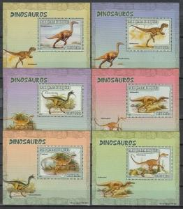 Mozambique, Scott cat. 1766 A-E. Dinosaurs on 6 Deluxe s/sheets.