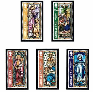 Gibraltar 740-44 MNH 1997 Christmas (Stained glass windows)