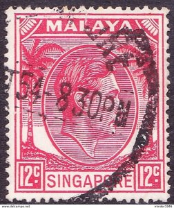 SINGAPORE 1952 KGVI 12c Scarlet S22a Used