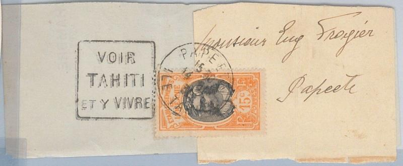 56781 - OCEANIE - POSTAL HISTORY:  Stamp on WRAPPER BAND: Tahiti 1931