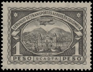 ✔️ COLOMBIA SCADTA 1923 - AIRPLANE OVER CITY - 1 PESO - SC. C47 ** MNH [SCDT36]