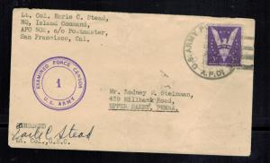 1942 USA APO 502 New Caledonia Army COver to Upper Darby PA LTC Earle Stead