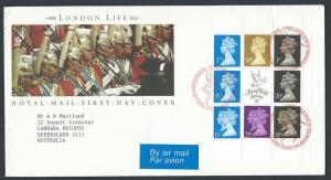 GB QEII 1990 Machins Booklet Pane X906m  VFU London Life