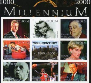 Turkmenistan 1999 Princess Diana/De Gaulle/Disney Shlt (9) IMPERFORATED MNH