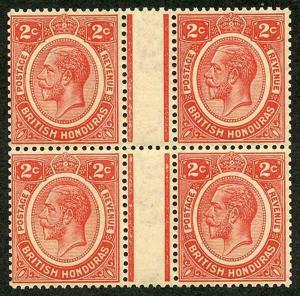 British Honduras SG128 2c Carmine GUTTER Block of FOUR U/M (brownish gum)