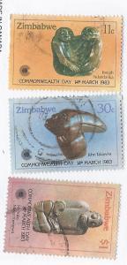Zimbabwe #459-461 Sculptur (U) CV $2.05