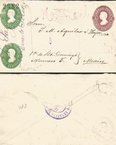J) 1882 MEXICO, 5 CENTS RED, 10 CENTS GREEN, 10 CENTS GREEN, CIRCULATED COVER, F