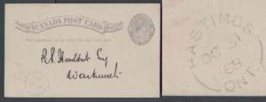 Canada #7953 - 1c QV post card - Northumberland County - Hastings , Ont single
