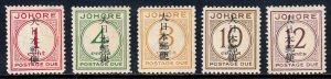 MALAYA (JOHORE) — SCOTT NJ6-NJ10 (SG JD6-JD10) — 1943 OCC. OVPTS. — MH — SCV $48
