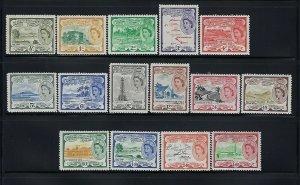 ST. KITTS NEVIS SCOTT #120-134 1954-57 QEII - MINT LIGHT HINGED/NEVER HINGED