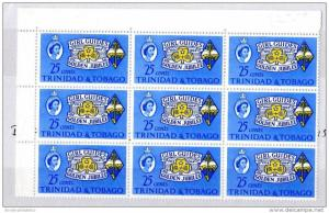 T & Tobago QEII 1964 25c Golden Jubilee of Girl Guides Block of 9 Mint MNH X3666