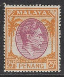 MALAYA PENANG SG16 1949 25c PURPLE & ORANGE MTD MINT