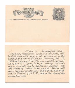 UX5 Postal Card Mint Face Preprinted Clinton NY 1878 Presbyterian Church