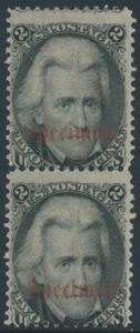 #73SD 2¢ PAIR W/ TYPE B SPECIMEN OVPT FINE BOTTOM STAMP IN NH CV $700++ HV7985