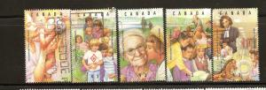 CANADIAN SET ON  YEAR OF THE FAMILY #1523(a-e) USED STAMPS  LOT#198