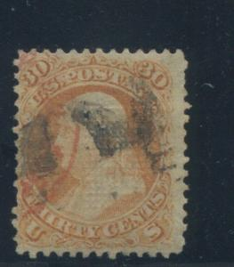 1868 US Stamp #100 30c Used Average Catalogue Value $900 Certified